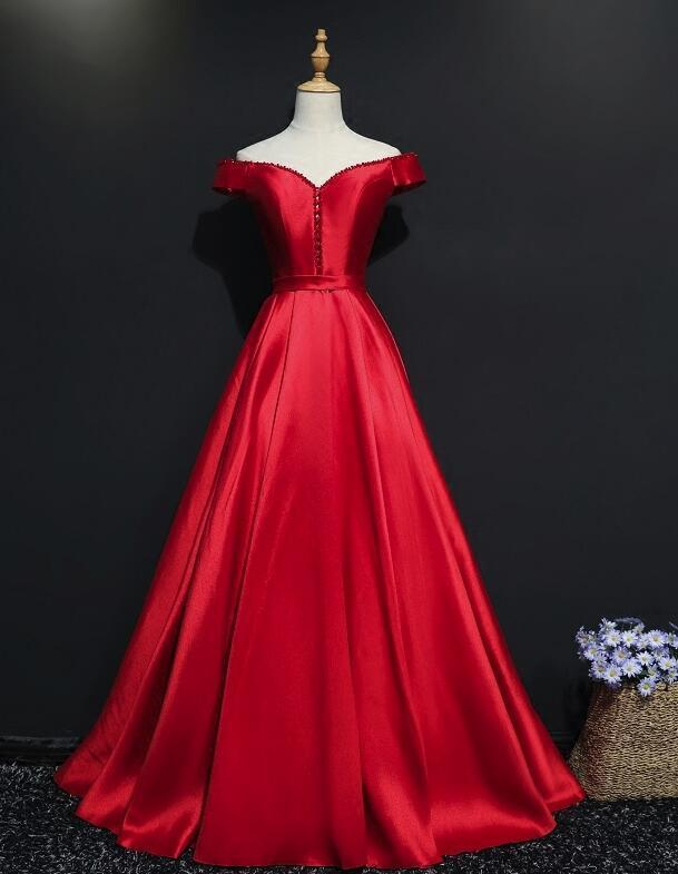 Red Satin New Style Off Shoulder with Beaded Long Formal Dress, Red Party Gowns