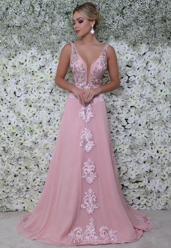 A line pink sleeveless v neck new prom dress