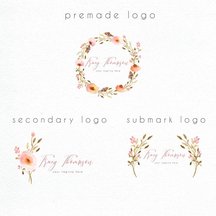 Premade logo, Watercolor Logo, Personalized logo, Rose Logo Design, PL04 NEW