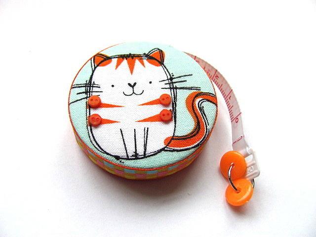 Tape Measure Orange Stripe Cat Retractable Measuring Tape