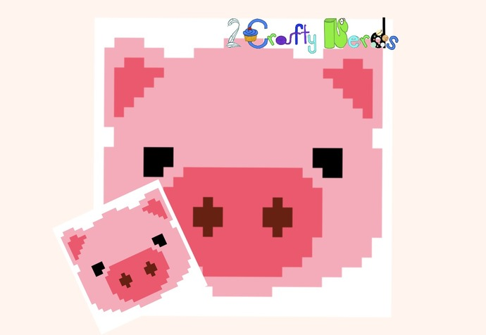 Pig Face Pillow Pattern Graph With Mini C2C Written