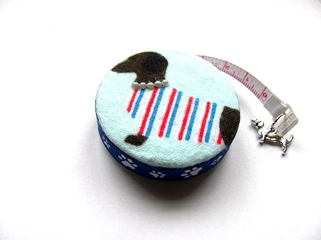 Tape Measure Dachsunds in Sweaters Retractable Small Measuring Tape