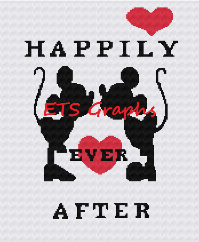 Happily Ever After Mickey & Minnie Pattern - SC - 180x220 Throw - Graph