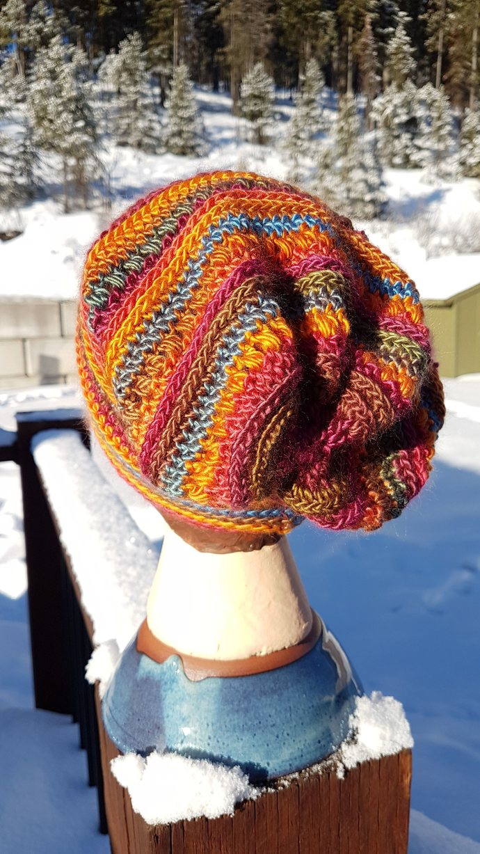Rocky Road Slouchy Beanie with handmade button - bright and colourful Active