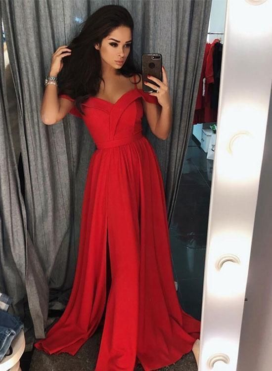 beb40350d31 Simple Red V Neck Satin Long Prom Dress Red Evening Dress Evening Gowns  H5966