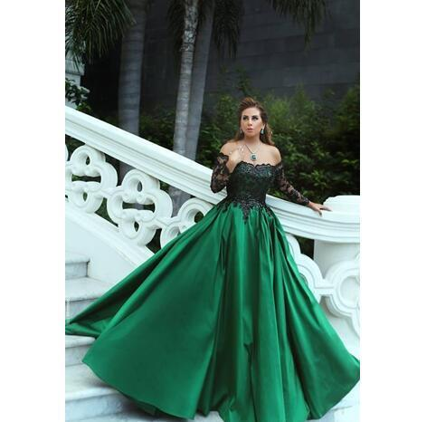 Gorgeous New A Line Dark Green Evening Dresses Black Applique Long Sleeves Sweep
