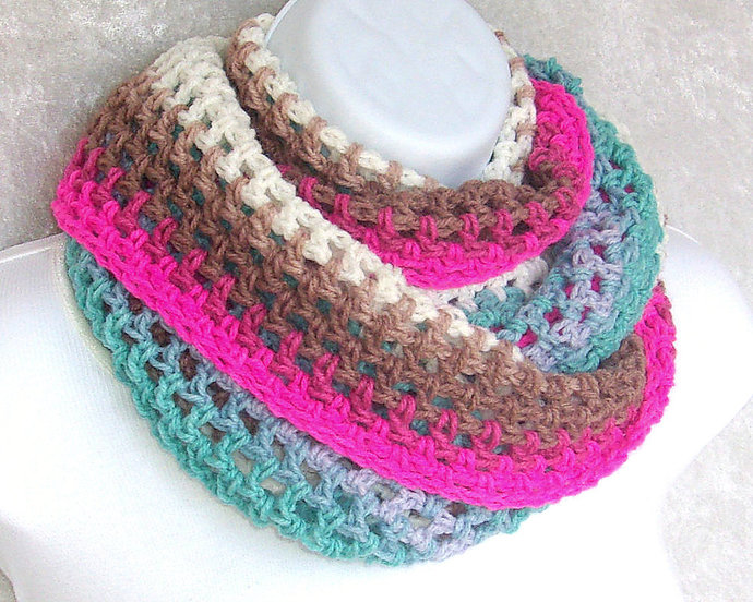 Infinity Moebius Scarf, spiral crocheted in Ice Cream Color Stripes lightweight