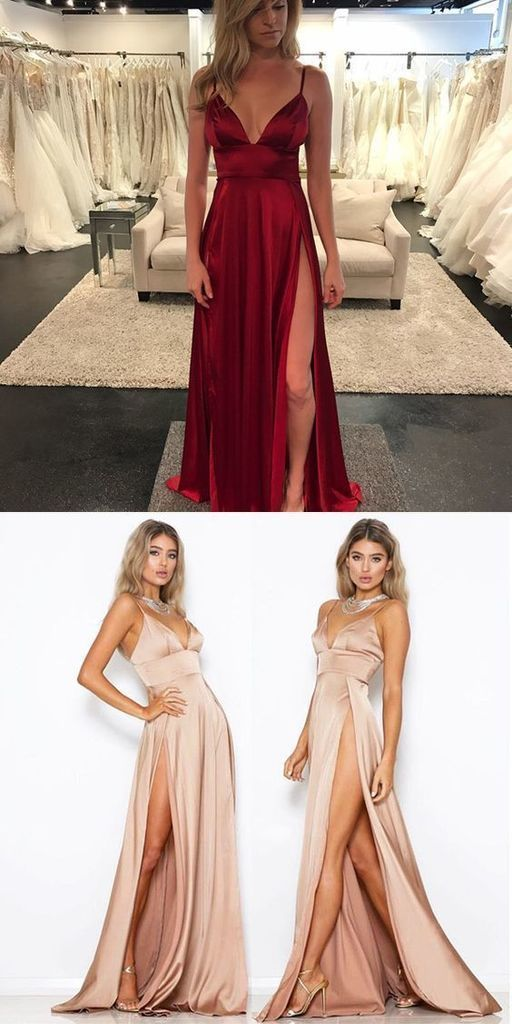 2019 Cheap Spaghetti Straps Side Split Simple Modest Sexy Prom Dresses Slit