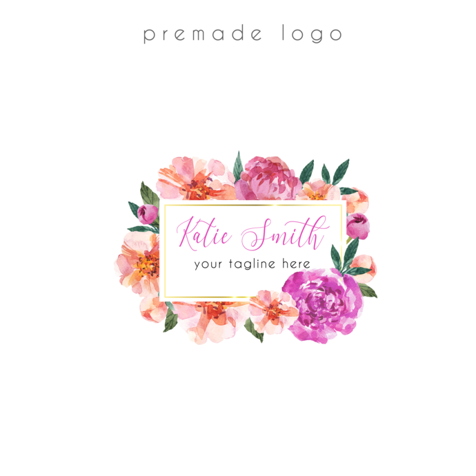 Premade logo, Logo Design, Business Card custom, Flower Logo,  Personalized