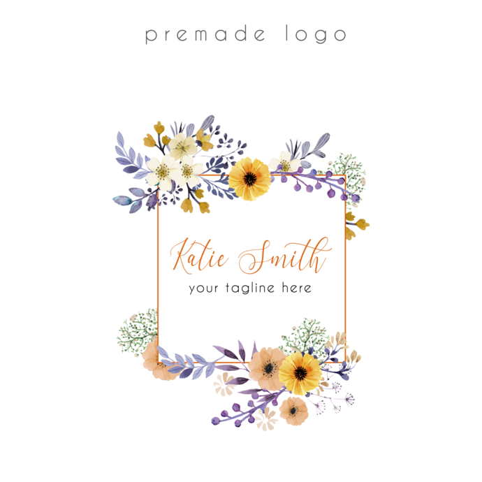Premade logo, Personalized logo, Watercolor Logo, Logo Design, Business Card