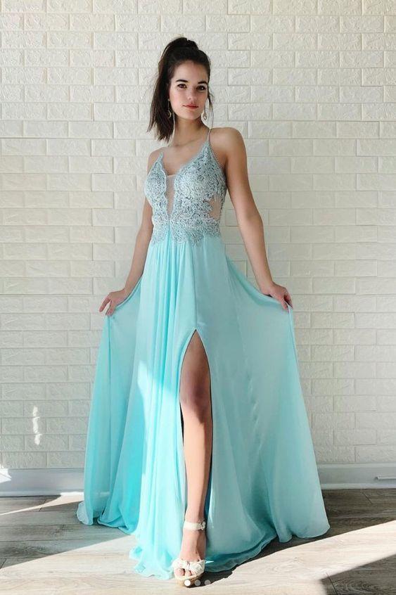 Light Blue Side Slit Long Prom Dress with Appliques V Neck Evening Dress