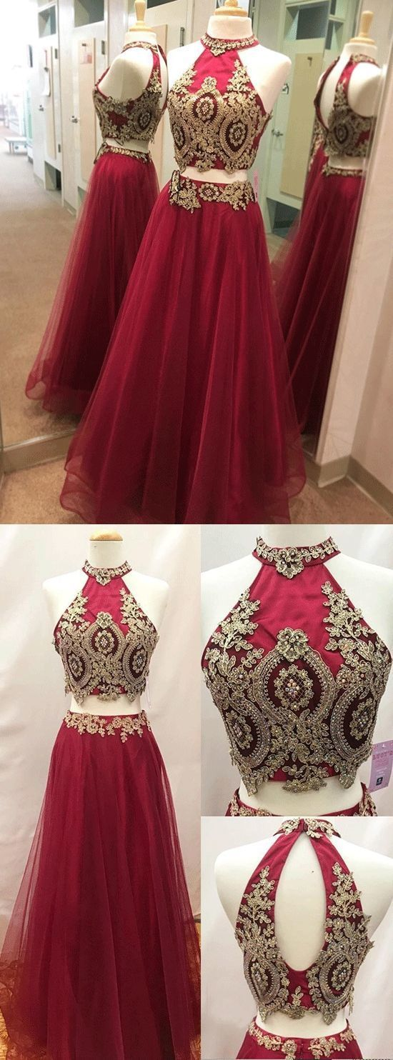 Appliques Red Two Piece Prom Dress, Elegant Halter Long Homecoming Dress