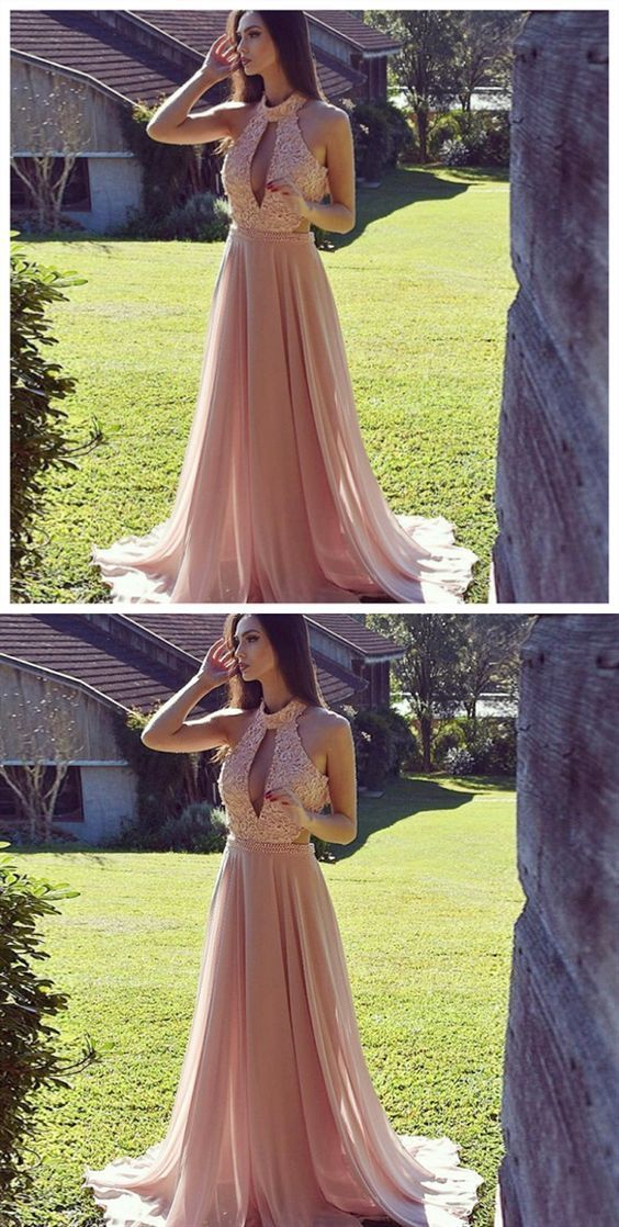 Fashion O neck Chiffon Beading Evening Dress, Sexy Long Prom Dresses with