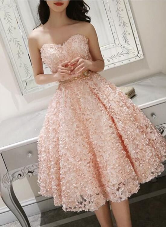4aae73efe76fe Cute Pink Floral Lace Short Sweetheart Romantic Party Dress, Teen Formal  Dress