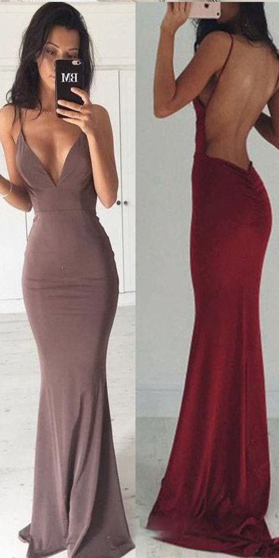 New Arrival Grey Chiffon Mermaid Evening Dress with Open Back, Long Prom Dress