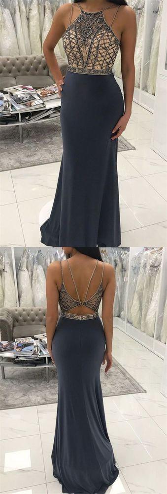 Sexy Open Back Beaded Mermaid Prom Dress, Sleeveless Long Evening Party Dress