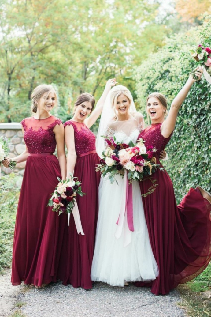 Wine Red Bridesmaid Dresses