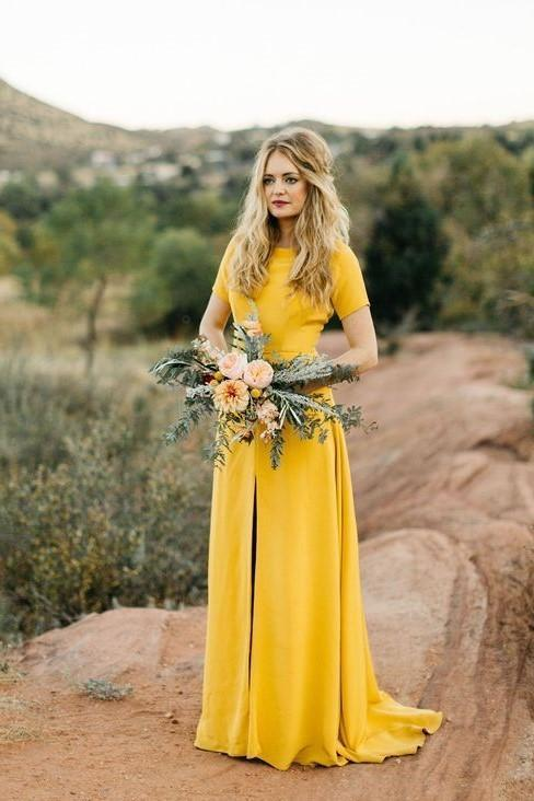 Short Sleeve Scoop neckine Yellow A Line Bridesmaid Dress, High Slit Bridesmaid