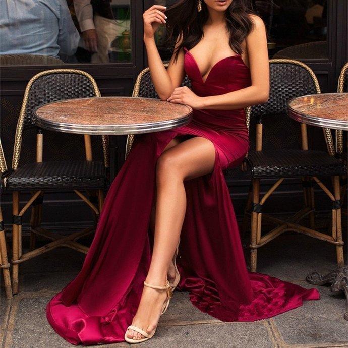 Newest Sexy V-neck Strapless High Split Burgundy Prom Dresses