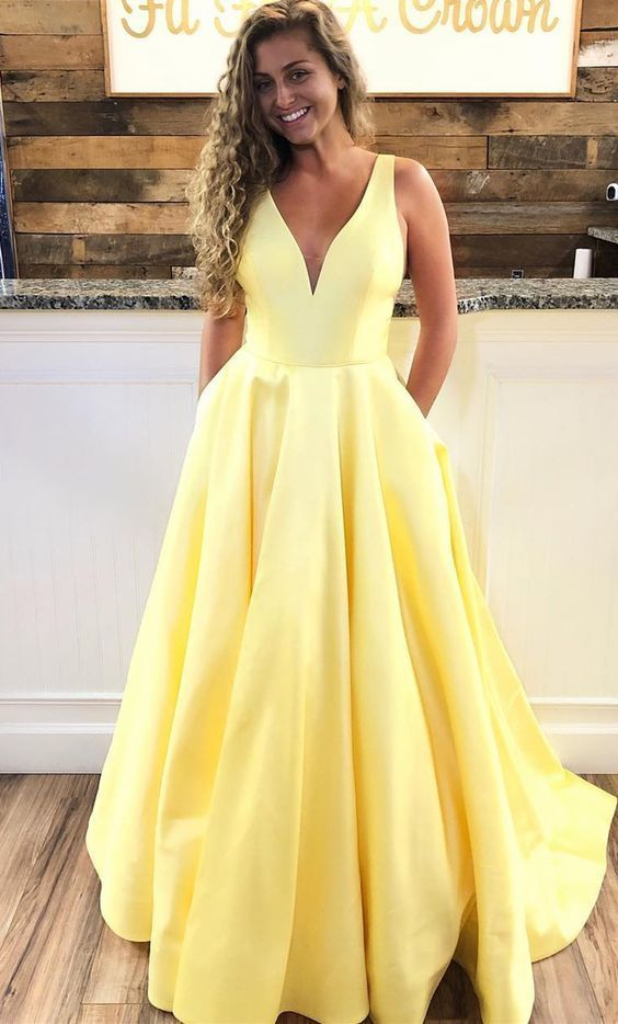 Simple A-line Yellow Long Prom Dress with Pockets,  Prom Dress Graduation Dress
