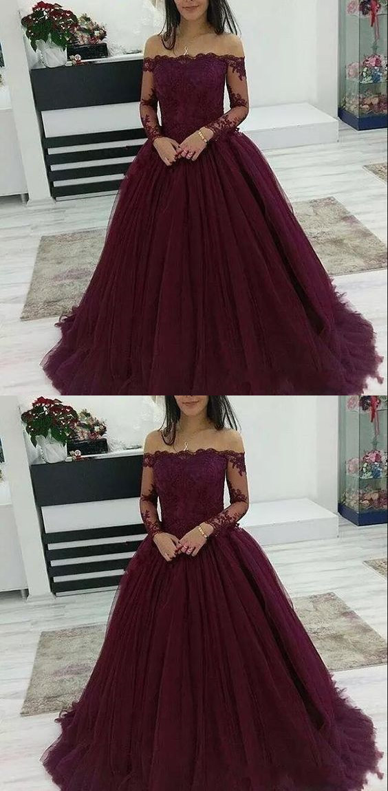 Burgundy Prom Dresses Off The Shoulder Lace Applique Long Sleeves Tulle Evening