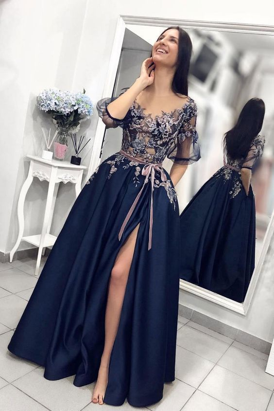 Unique dark blue lace long prom dress, blue evening dress