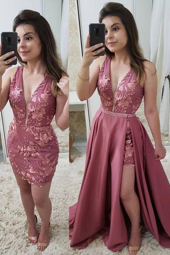 Fashion Deep V Neck Lace Detachable Skirt Fancy Prom Dresses Formal Evening Grad