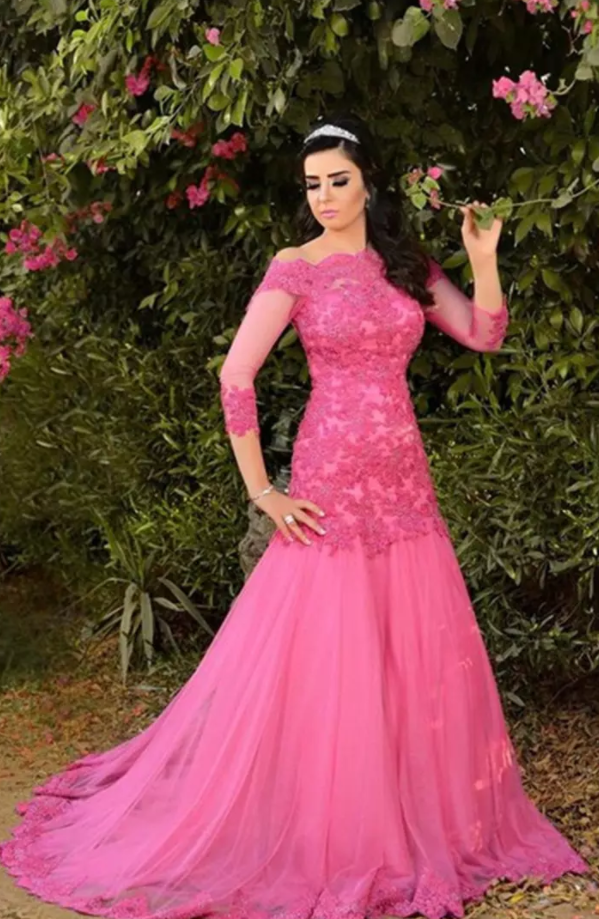 8656c29afd Evening Dress Turkey Sexy Off the Shoulders Hot Pink Tulle Lace Appliques