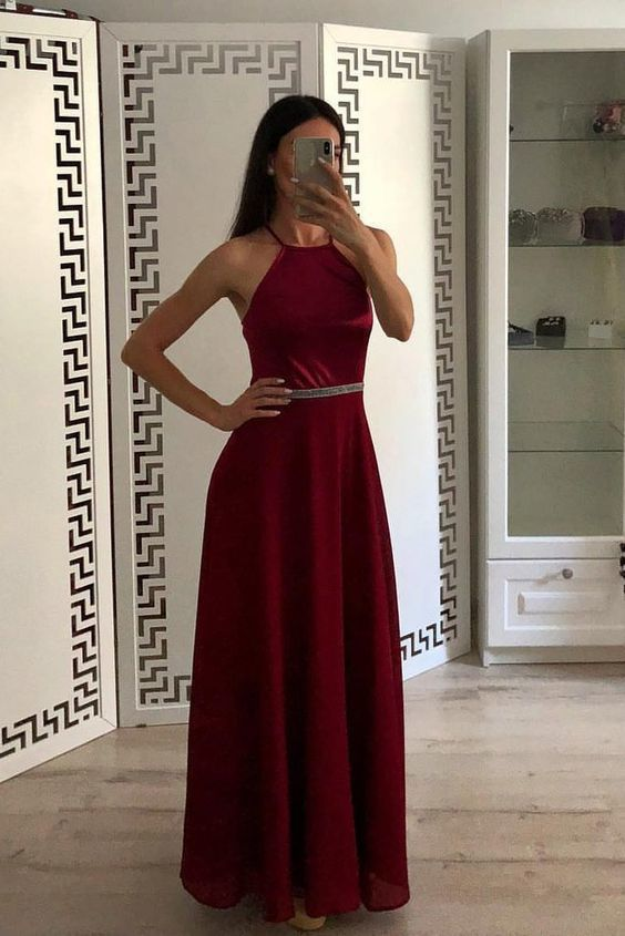 Fashion Burgundy A Line Halter Chiffon Simple Prom Dresses