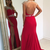 Sexy Slit Prom Dress,Beaded Red Evening Dress,Keyhole Back Red Party Dress