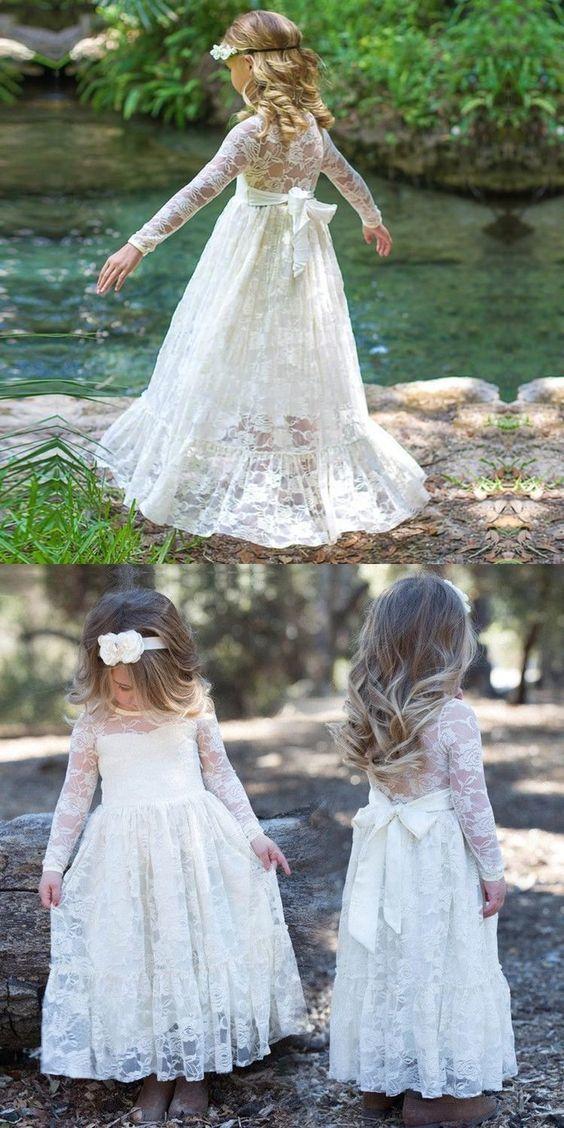 White Cream Pink Lace Flower Girls Dresses