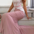 Elegant Pink Mermaid Prom Dresses Appliques Sweep Train Formal Evening Dresses