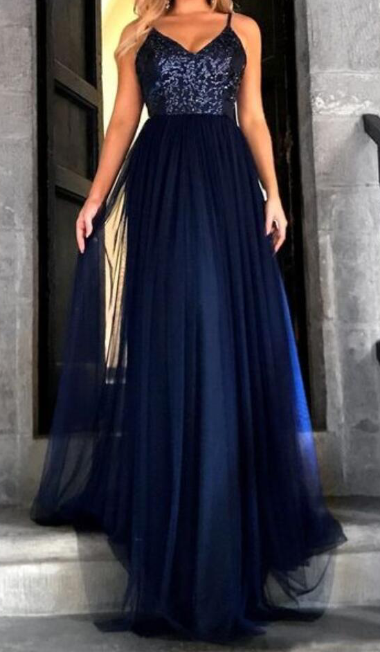 Sexy Backless Prom Dress, Prom Gowns with Straps, Long Evening Dress