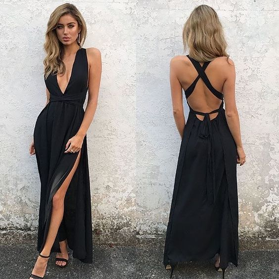 Sheath Spaghetti Straps Long Backless black Simple Prom Dresses