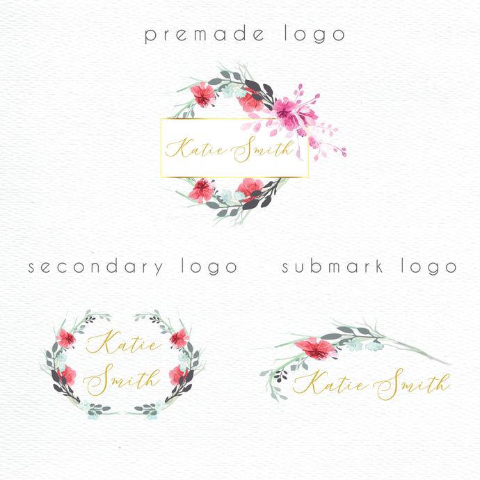 Personalized logo, Premade logo, Watercolor Logo, Watercolor Logo Design, PL22
