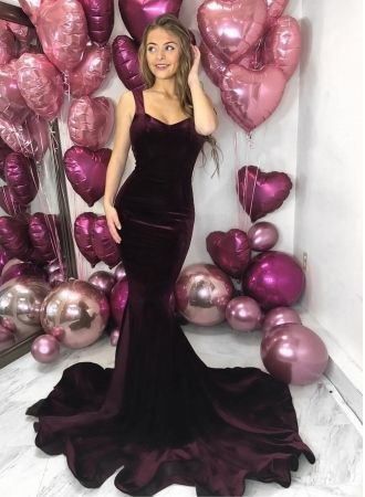 Gorgeous Straps Mermaid Sleeveless Evening Dress   Backlesss Long Prom Gown