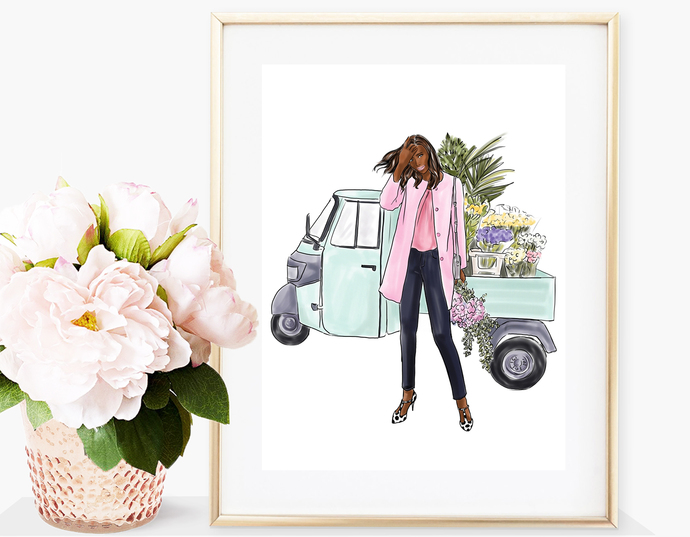 Watercolor fashion illustration - Flower Girl - Dark Skin