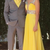Yellow A Line Chiffon Prom Dresses Crew Neck Sleeveless Beading Crystals Evening