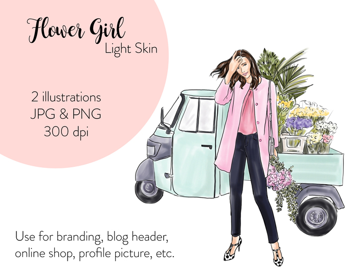 Watercolor fashion illustration - Flower Girl - Light Skin