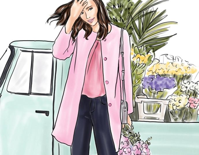 Watercolor fashion illustration - Flower Girl - Light Skin
