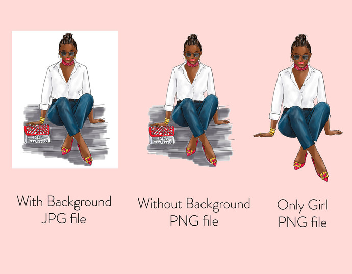 Watercolor fashion illustration - Girl in White Shirt & Jeans - Dark Skin
