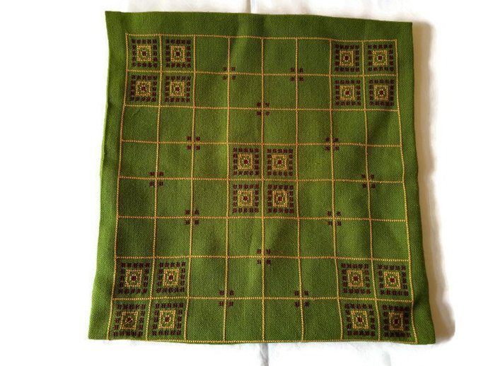 Pillow case green, hand embroidered vintage pillow case