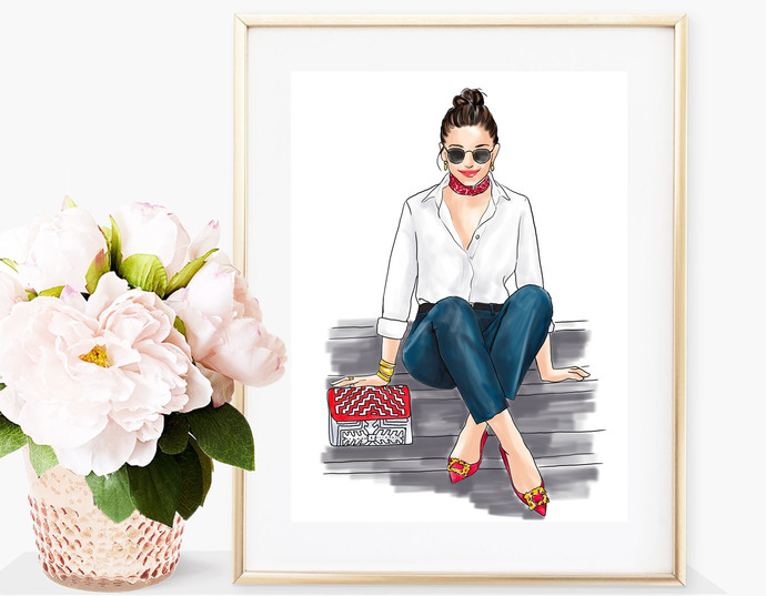 Watercolor fashion illustration - Girl in White Shirt & Jeans - Light Skin