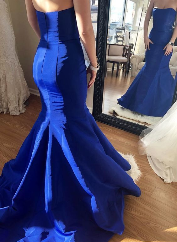 strapless mermaid royal blue prom dress, long prom dress