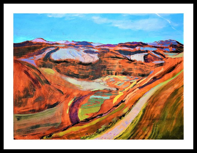 """Landscape painting, original canvas wall art, acrylic painting, """" The Path"""" 2019"""