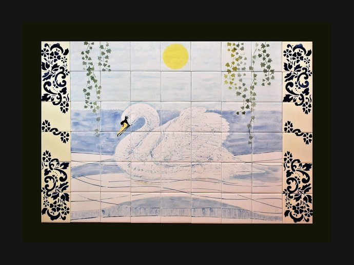 "Kitchen backsplash, Hand painted ceramic Tile Mural, 35.5"" W x 24"" H, THE SWAN."