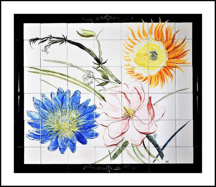 "Accent wall Kitchen backsplash, Hand painted tile mural, Flower mural, 24"" High"