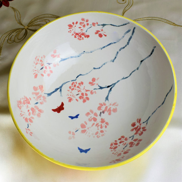 Fruit bowl, Home decor, Decorative bowl, Butterflies and Blossoms Hand painted