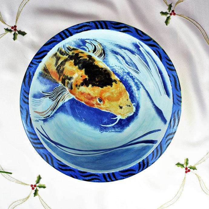 Fruit bowl, Home decor, Decorative bowl, Large hand painted ceramic, Koi fish