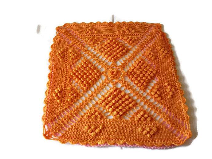 Pillow Case Single, Orange pillow cover, Hand Knit orange pillow case